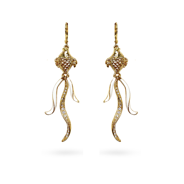 14K Gold Plated Crystal Fish Drop Earrings