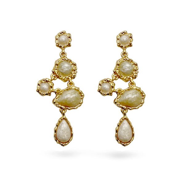 14K Gold Plated Resin Stone Irregular Design Earring