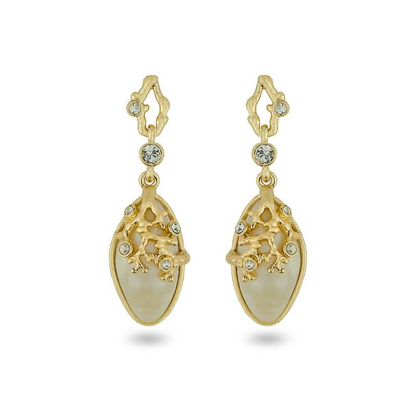 14K Gold Plated Ocean Themed Resin Stone Earrings