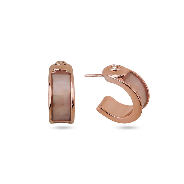 Rose Gold Plated Mother of Pearl Small Earrings