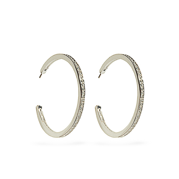 Rhodium Plated Crystal Hoop Earrings