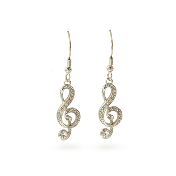Rhodium Plated Music Note Earrings