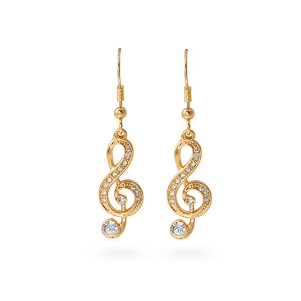 14K Gold Plated Music Note Earrings