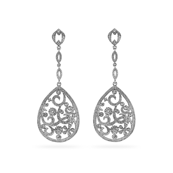 Rhodium Plated Tear Filigree Drop Earrings