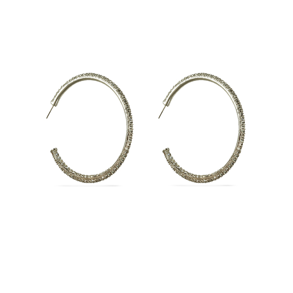 Rhodium Plated Two Track Crystal Hoop Earrings