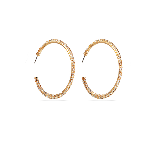 14K Gold Plated Two Track Crystal Hoop Earrings