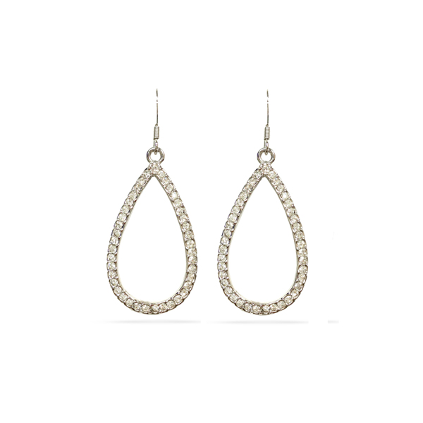 Rhodium Plated Open Tear Crystal Earrings