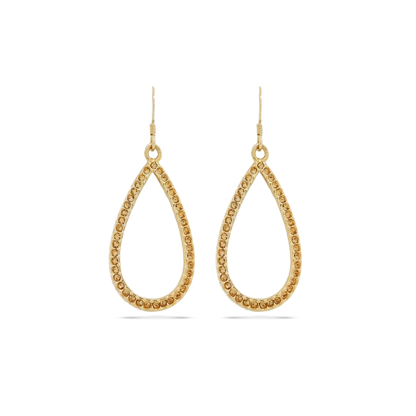 14K Gold Plated Open Tear Crystal Earrings