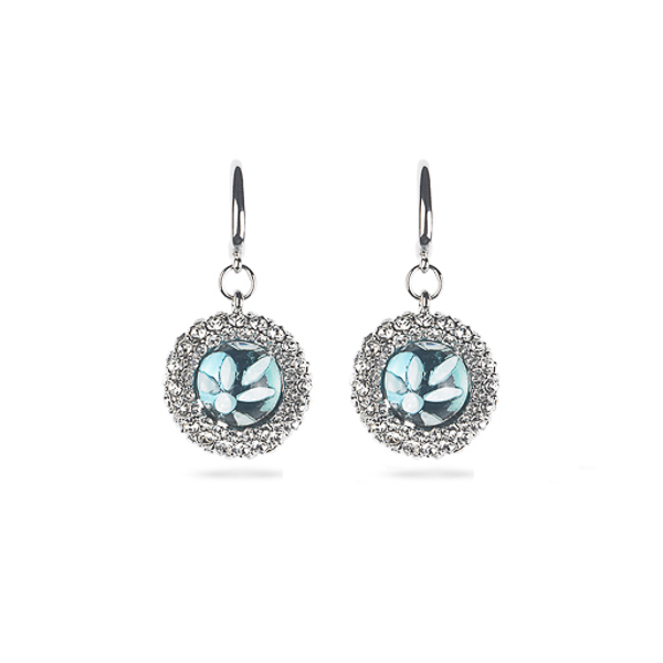 Rhodium Plated Aqua Flower Crystal Earrings