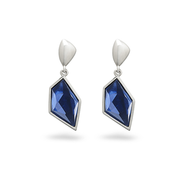 Rhodium Plated Sapphire Blue Earrings