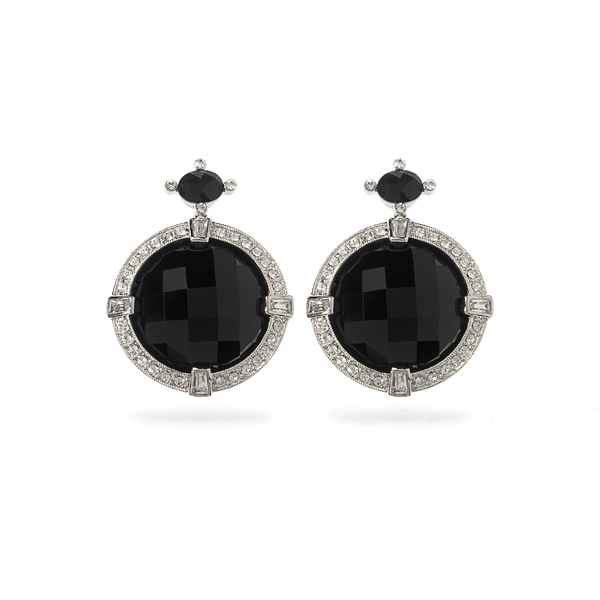 Rhodium Plated Jet Black Crystal Earrings