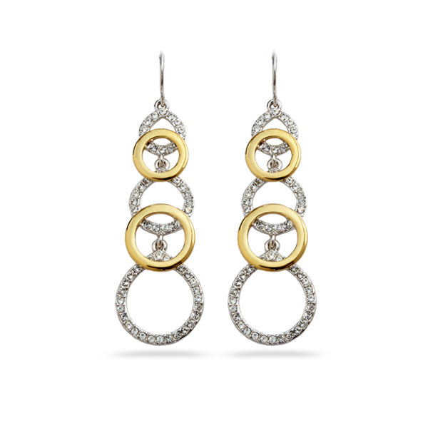 Two Tone Plated Multiple Circles Crystal Earrings