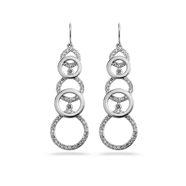 Rhodium Plated Multiple Circles Crystal Earrings