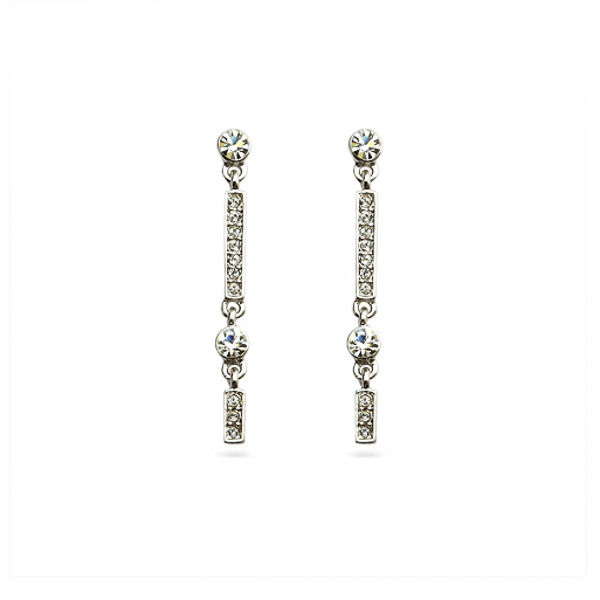 Rhodium Plated Small Drop Earrings