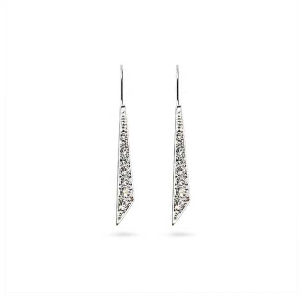 Rhodium Plated Graduated Crystal Earrings