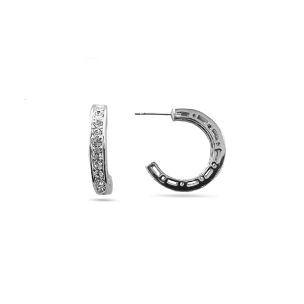 Rhodium Plated Classic Small Crystal Hoop Earrings