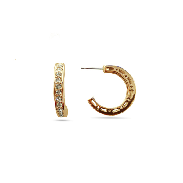 14K Gold Plated Classic Small Crystal Hoops Earrings