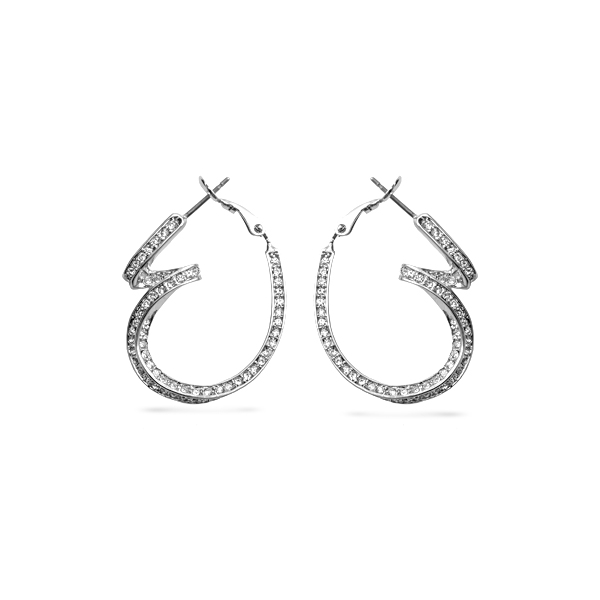 Rhodium Plated Curvy Crystal Hoops Earrings
