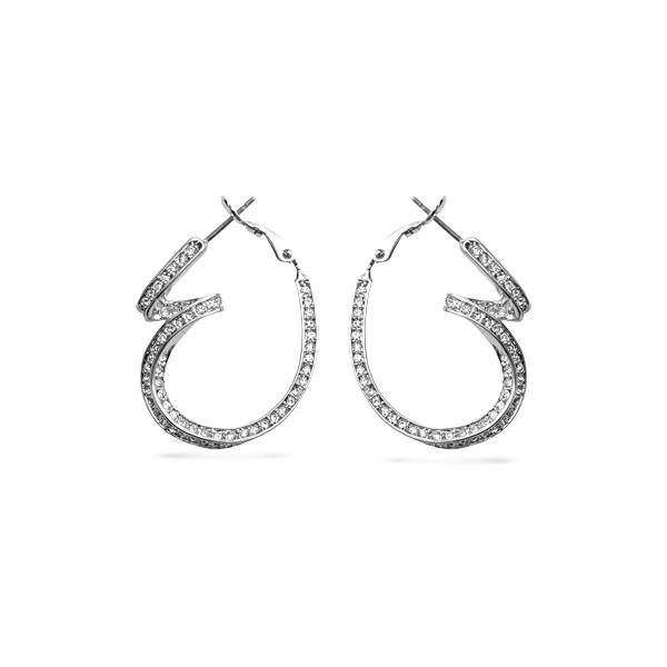 Rhodium Plated Curvy Crystal Hoops Earrings