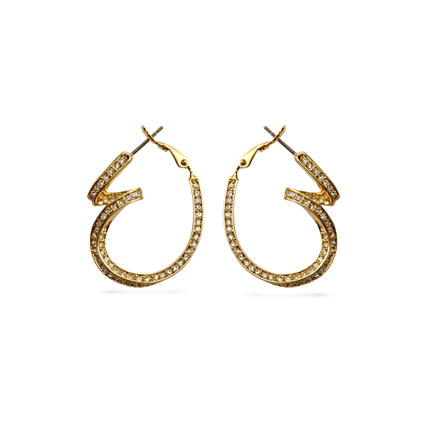 14K Gold Plated Curvy Crystal Loops Earrings