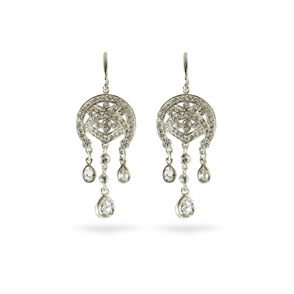 Rhodium Plated Crystal Chandelier Earrings