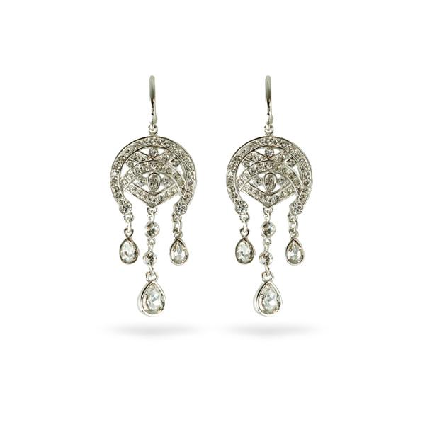 Rhodium Plated Crystal Chandelier Earrings