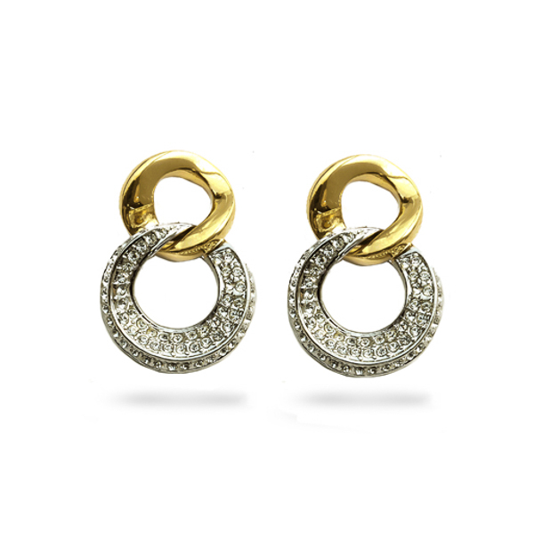 Two Tone Plated Double Loop Crystal Earrings