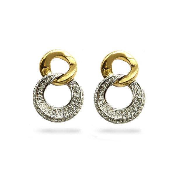 Two Tone Plated Double Loop Crystal Earrings