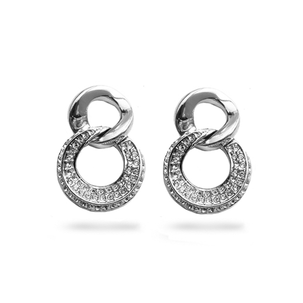 Rhodium Plated Double Loop Small Crystal Earring