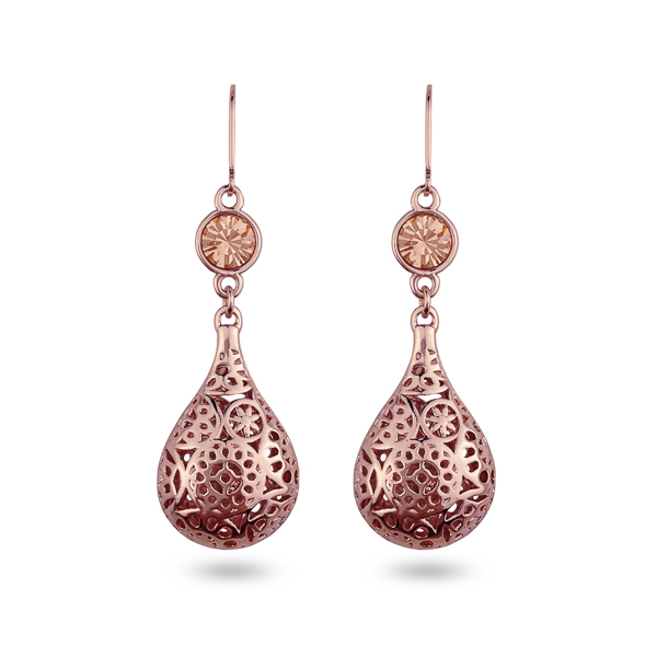Rose Gold Plated Kisses Filigree Drop Earrings