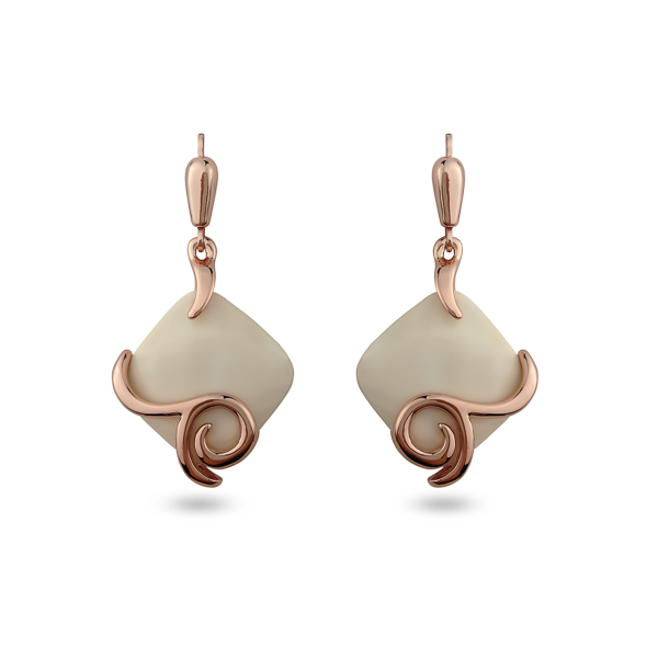 Rose Gold Plated Square Resin Stone Spiral Earrings
