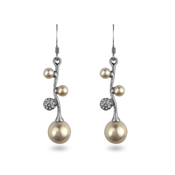 Rhodium Plated Glass Pearl and Crystal Earrings