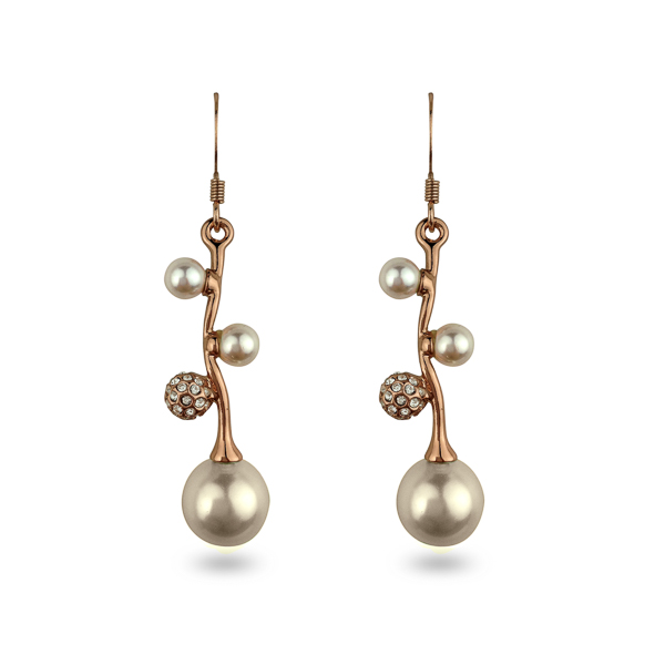 Rose Gold Plated Glass Pearl and Crystal Earrings