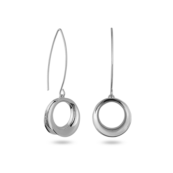 Rhodium Plated Circle Drop Earrings