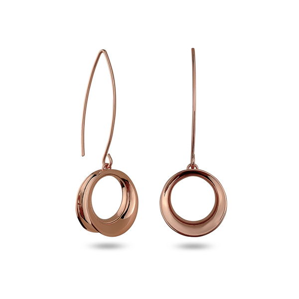 Rose Gold Plated Circle Drop Earrings