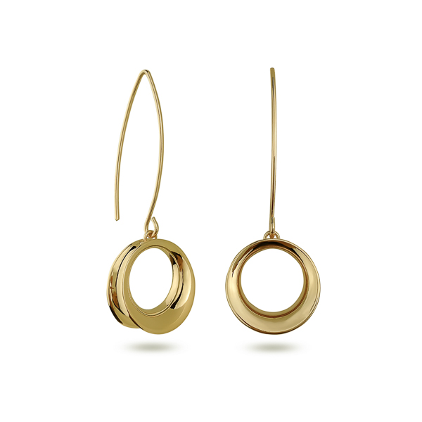 14K Gold Plated Circle Drop Earrings