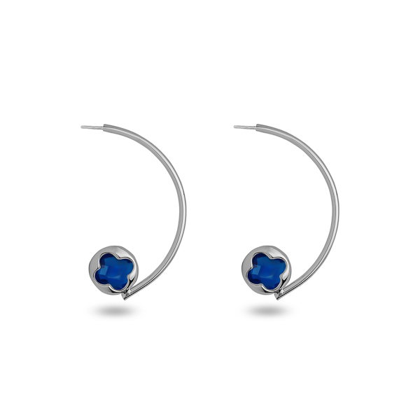 Rhodium Plated Half Loop Glass Earrings