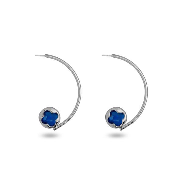 Rhodium Plated Half Loop Glass Earrings