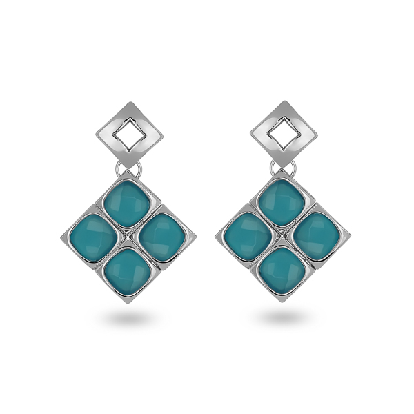 Rhodium Plated Blue Square Glass Stones Earrings