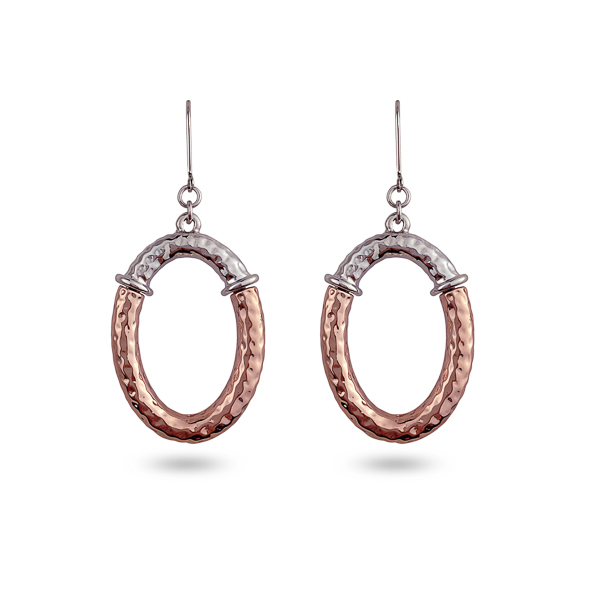 Two Tone Plated Open Oval Earrings