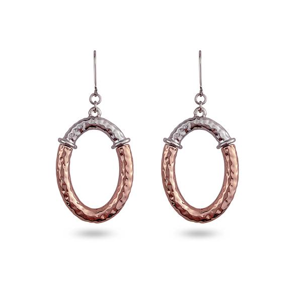 Two Tone Plated Open Oval Earrings