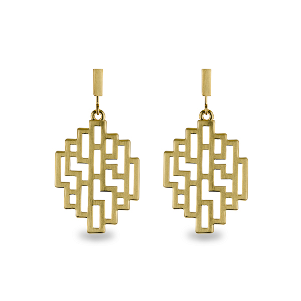 14K Gold Plated Matt Geometrical Earrings