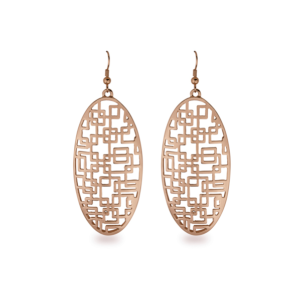 Rose Gold Plated Oval Filigree Earrings