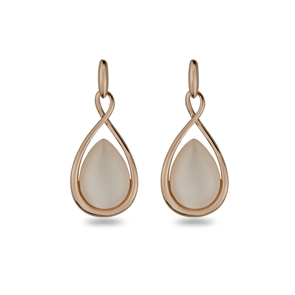 Rose Gold Plated Cat Eye Tear Earrings