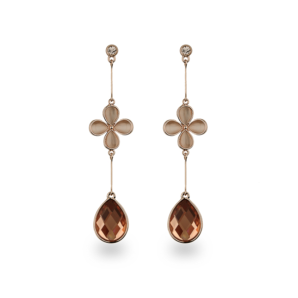 Rose Gold Plated Flower and Tear Drop Earrings