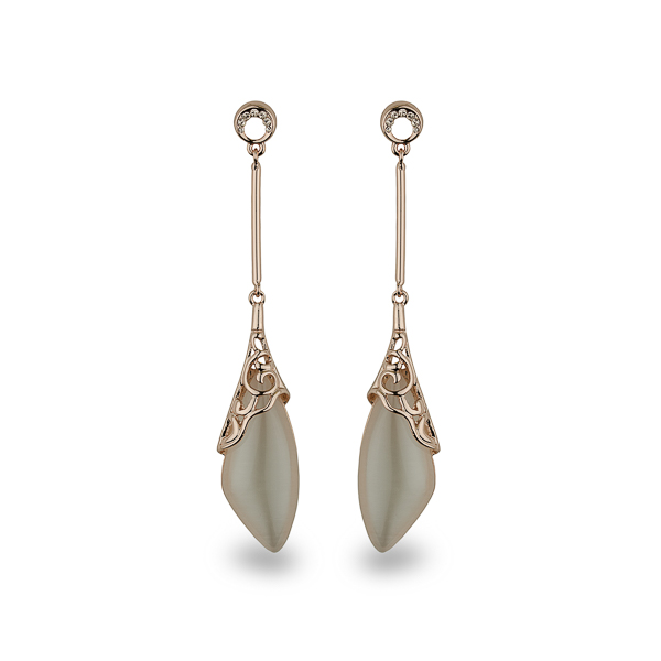 Rose Gold Plated Cat Eye Drop Earrings