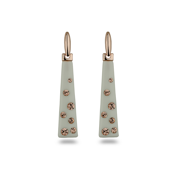 Rose Gold Plated Rectangular Resin Stone and Crystal Earrings