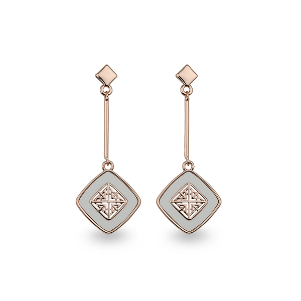 Rose Gold Plated Square Filigree Drop Earrings