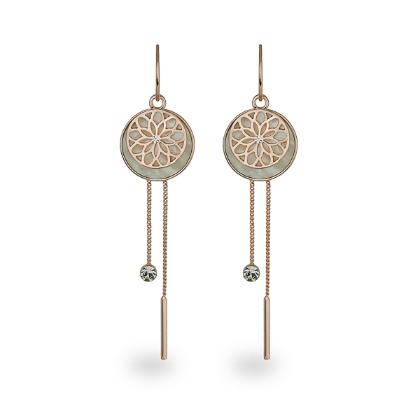 Rose Gold Plated Mother of Pearl Flower Drop Earrings