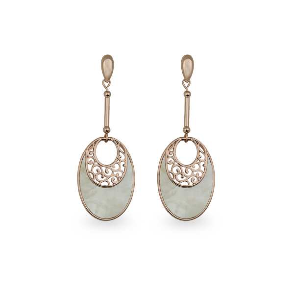 Rose Gold Plated Mother of Pearl Oval Drop Earrings